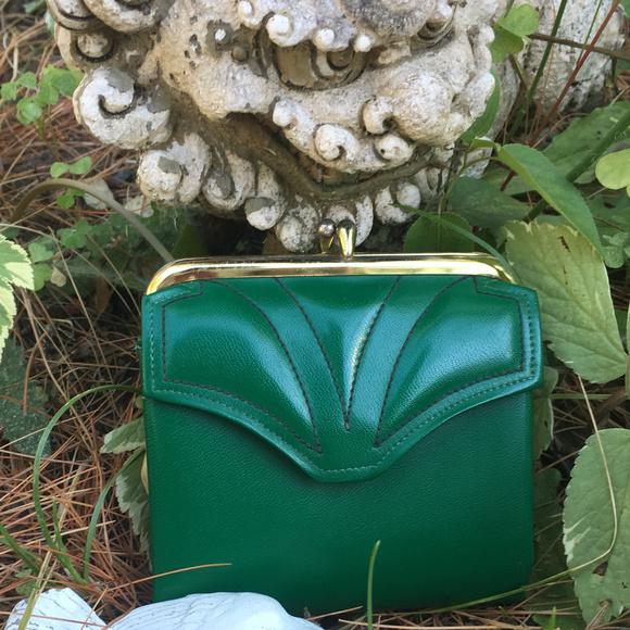 Vintage Handbags - RARE Vintage Dark Green Corfam Change Purse Wallet